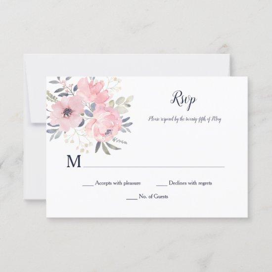 Pink Blush Floral - White - Wedding | RSVP Card