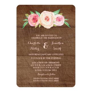 Pink Blush Floral Wood Wedding Invitations