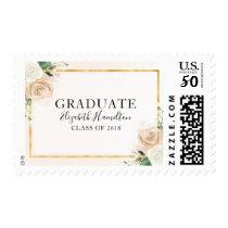 Pink Blush & Foil Gold Modern Floral Graduation Postage