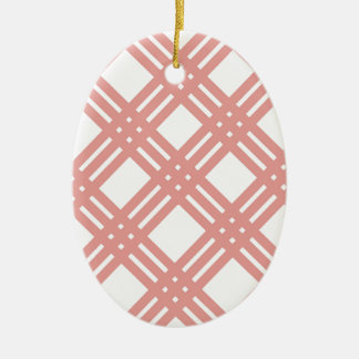 Pink Blush Gingham Ceramic Ornament