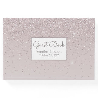 Pink Blush Glittery Wedding Guest Book
