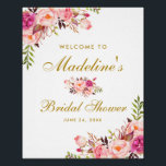 "Pink Blush Gold Floral Bridal Shower Welcome Poster<br><div class=""desc"">Watercolor Pink Blush Gold Floral Bridal Shower Welcome Poster</div>"