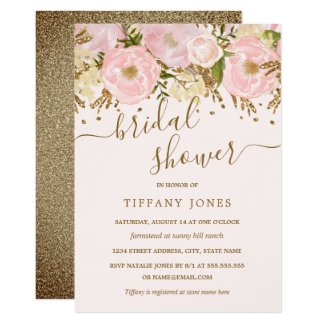 Pink Blush Gold Floral Confetti Bridal Shower Invitation