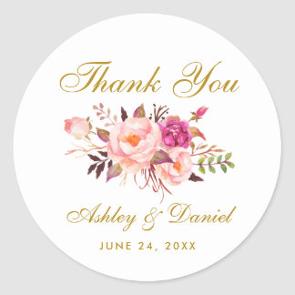 Pink Blush Gold Floral Wedding Thank You Classic Round Sticker