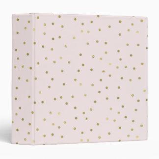 Pink Blush Gold Sparkle Confetti 3 Ring Binder