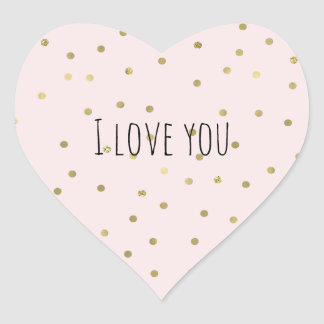 Pink Blush Gold Sparkle Confetti Love Heart Sticker