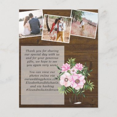 Pink Blush Mint Floral PHOTO Thank You Wedding