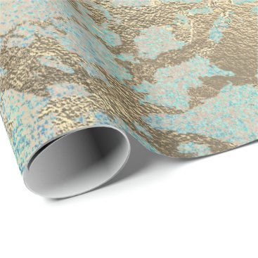 Beach Themed Pink Blush Painting Aqua Blue Gold Marble Shiny Wrapping Paper