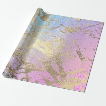 McTiffany Tiffany Aqua Pink Blush Painting Ombre Pink Gold Marble Shiny Wrapping Paper