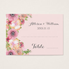 Pink Blush Pastel Floral Place Setting Cards at Zazzle