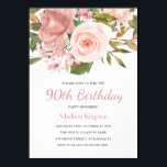 "Pink Blush Rose Gold 90th Birthday Party Invite<br><div class=""desc"">Pink Blush Rose Gold 90h Birthday Party Invite