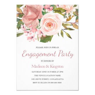 Pink Blush Rose Gold Engagement Party Invite