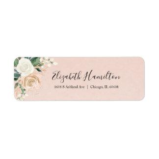 Pink Blush & Rose Gold Floral Watercolor Elegant Label