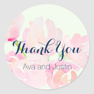 Pink Blush Watercolor Blooms Thank You Seal Classic Round Sticker