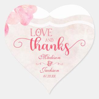 Pink Blush Watercolor Wedding Love & Thanks Favor Heart Sticker