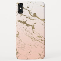 Pink blush white ombre gradient gold marble iPhone XS max case