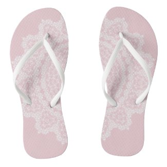 Pink Blush with White Lace Flip Flops