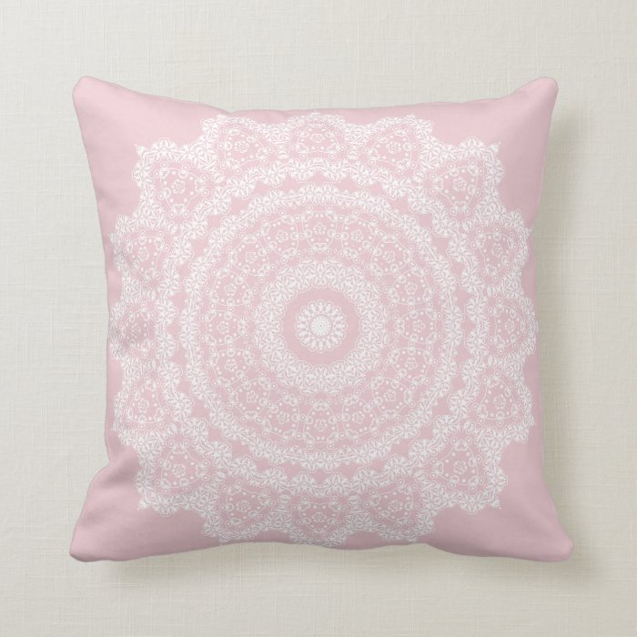 Blush Pink Decorative Pillow : Pink Blush with White Lace Throw Pillow Zazzle