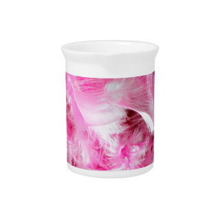Pink Boa Feather Pattern Beverage Pitchers