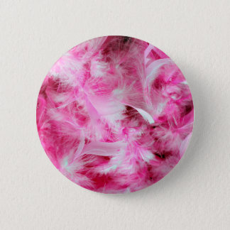 Pink Boa Feather Pattern Button