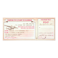 pink boarding pass ticket-vintage wedding invites 4&quot; x 9.25&quot; invitation card (<em>$2.57</em>)