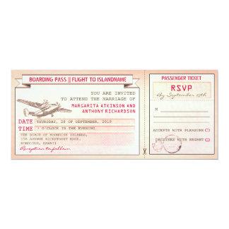 "pink boarding pass ticket-vintage wedding invites 4"" x 9.25"" invitation card"