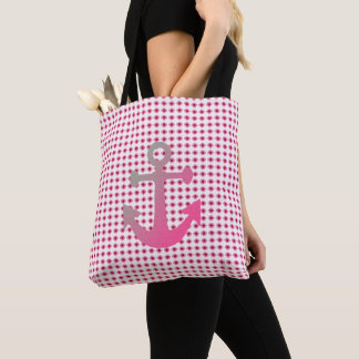Pink-Boat-Tote-Anchor-Mod-Floral-Totes-Bags Tote Bag
