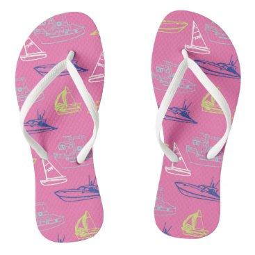 Beach Themed Pink Boats Flip Flops