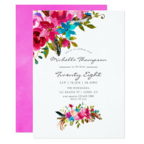 Pink Boho Chic Floral Any Age Birthday Party Invitation