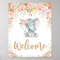 Pink Boho Elephant Baby Shower Welcome Sign Decor