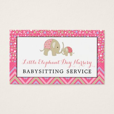 Professional Business Pink Boho Elephant, Babysitting, Day Nursery Business Card