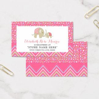 Pink Boho Elephant & Chevron Baby Gift Registry Business Card