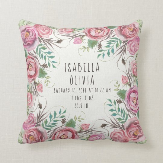 Pink Boho Floral Border Roses Fern Baby Name Stats Throw