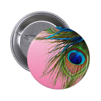 Pink Boho Peacock 2 Inch Round Button