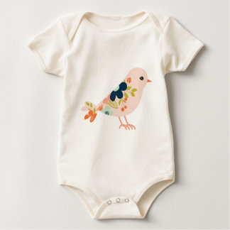 Pink Boho Tribal Bird Baby Bodysuit