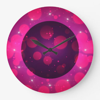 Pink Bokeh Background With Stars Round Wall Clocks