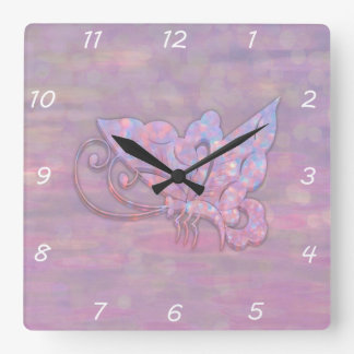 Pink Bokeh Butterfly Square Wall Clocks