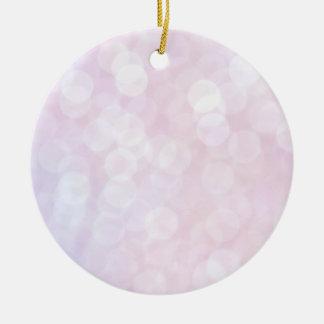 Pink bokeh ceramic ornament