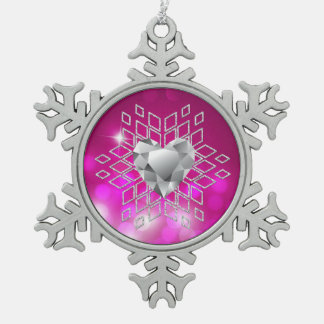 Pink Bokeh Diamond Snowflake & Heart Snowflake Pewter Christmas Ornament