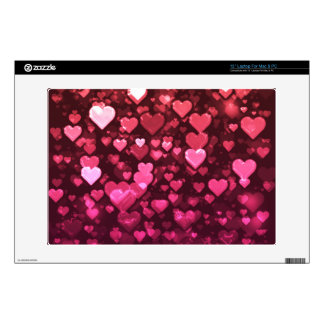 "Pink Bokeh Hearts Digital Background Wallpaper Decal For 13"" Laptop"