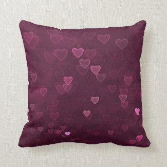 Pink Bokeh Hearts Throw Pillow