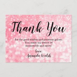 Pink Bokeh Lights Sweet 16 Thank You Note