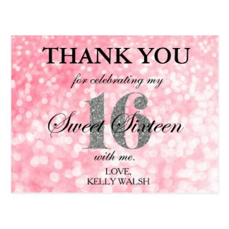 Pink Bokeh Lights Sweet 16 Thank You Note Postcard