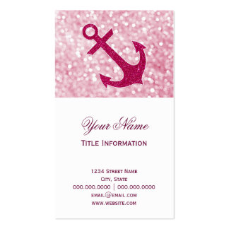Pink Bokeh Nautical Glitter Anchor Double-Sided Standard Business Cards (Pack Of 100)
