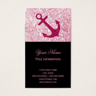 Pink Bokeh Nautical Glitter Anchor Business Card