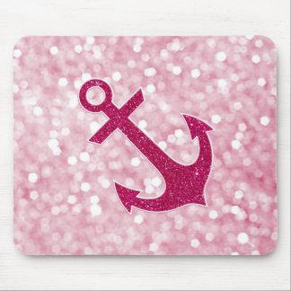 Pink Bokeh Nautical Glitter Anchor Mouse Pad