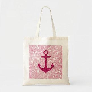 Pink Bokeh Nautical Glitter Anchor Tote Bag