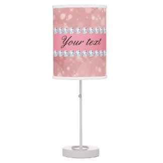 Pink Bokeh Sparkles and Diamonds Personalized Desk Lamp