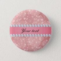 Pink Bokeh Sparkles and Diamonds Personalized Pinback Button