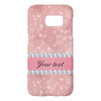 Pink Bokeh Sparkles and Diamonds Personalized Samsung Galaxy S7 Case